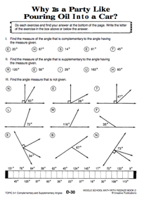 Printables Complementary Supplementary Angles Worksheet printables complementary and supplementary angles worksheet missing geometry unit pizzazz d30 i